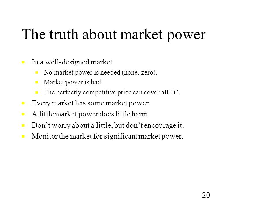 The truth about market power
