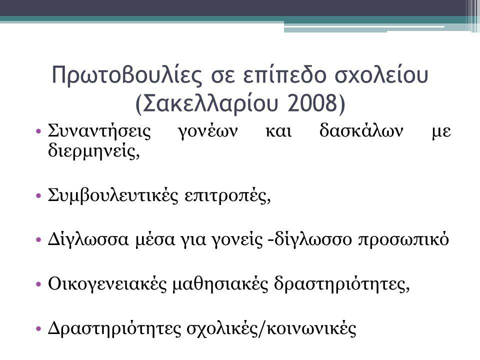 Πρωτοβουλίες σε επίπεδο σχολείου (Σακελλαρίου 2008)