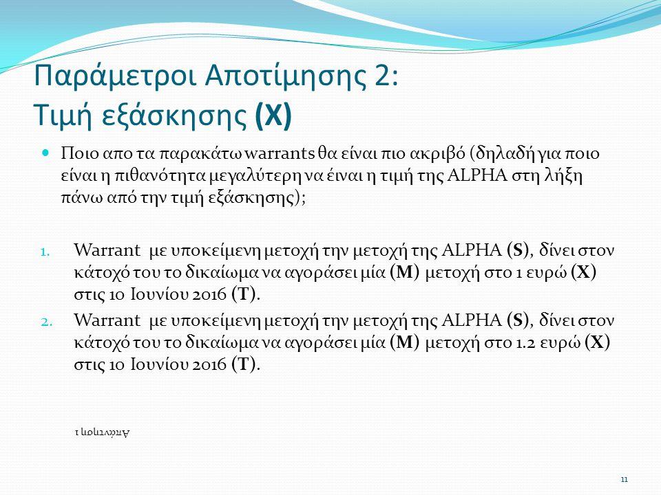 Παράμετροι Αποτίμησης 2: Τιμή εξάσκησης (Χ)