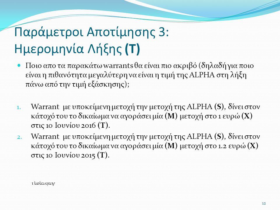 Παράμετροι Αποτίμησης 3: Ημερομηνία Λήξης (Τ)