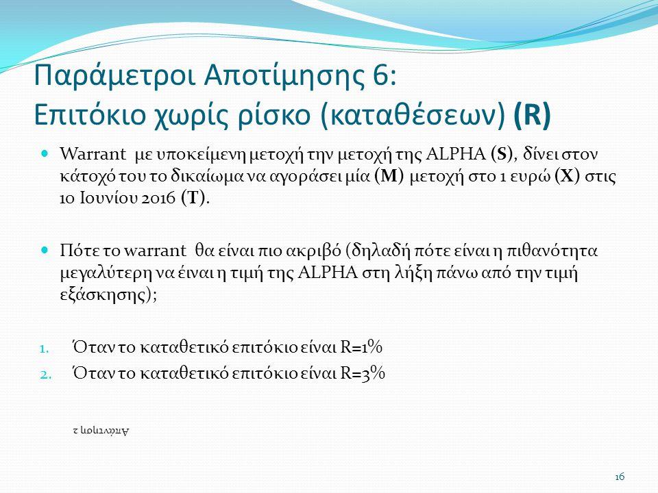 Παράμετροι Αποτίμησης 6: Επιτόκιο χωρίς ρίσκο (καταθέσεων) (R)