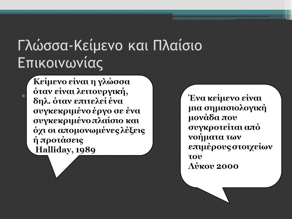 Γλώσσα-Κείμενο και Πλαίσιο Επικοινωνίας