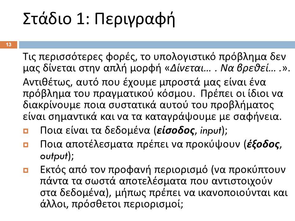 Στάδιο 1: Περιγραφή (Παράδειγμα)