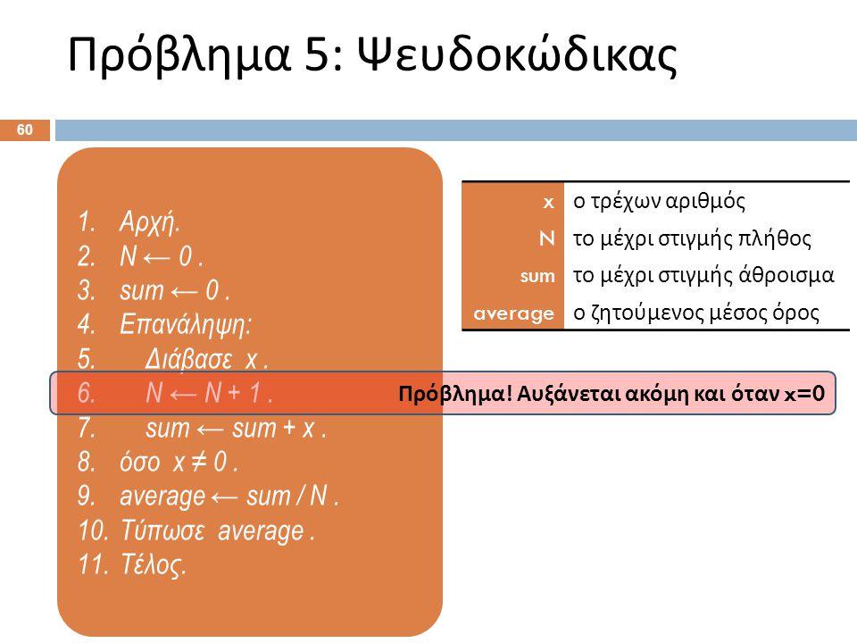 Πρόβλημα 5: Διάγραμμα ροής