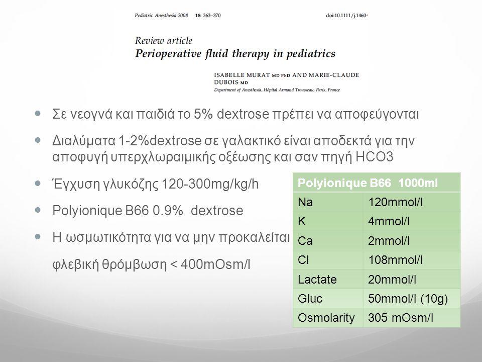 Σε νεογνά και παιδιά το 5% dextrose πρέπει να αποφεύγονται