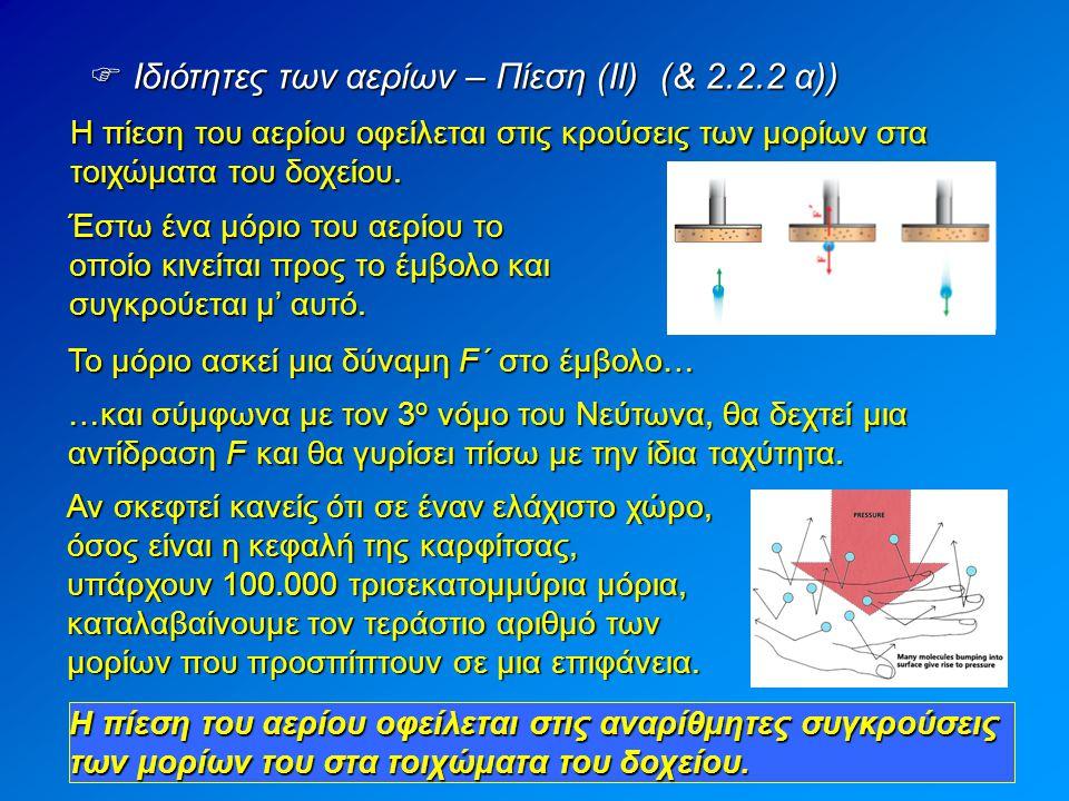 Ιδιότητες των αερίων – Πίεση (ΙΙ) (& 2.2.2 α))