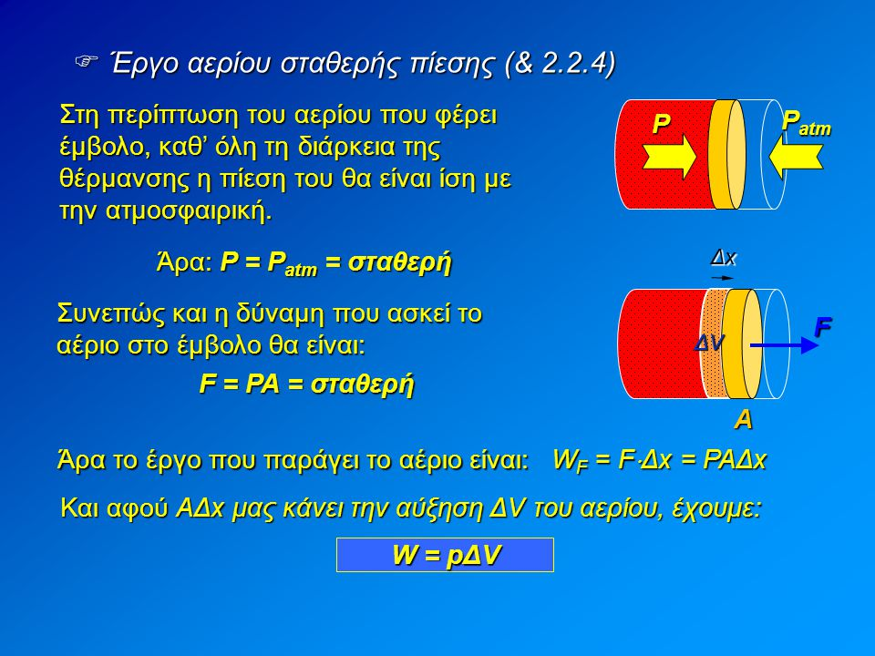 Έργο αερίου σταθερής πίεσης (& 2.2.4)