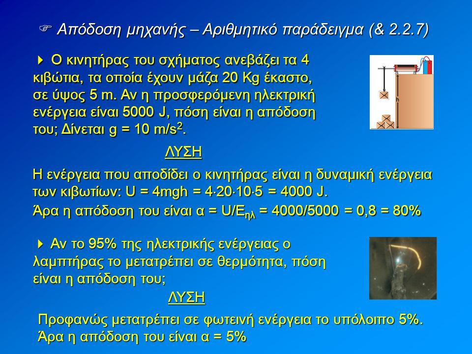 Απόδοση μηχανής – Αριθμητικό παράδειγμα (& 2.2.7)