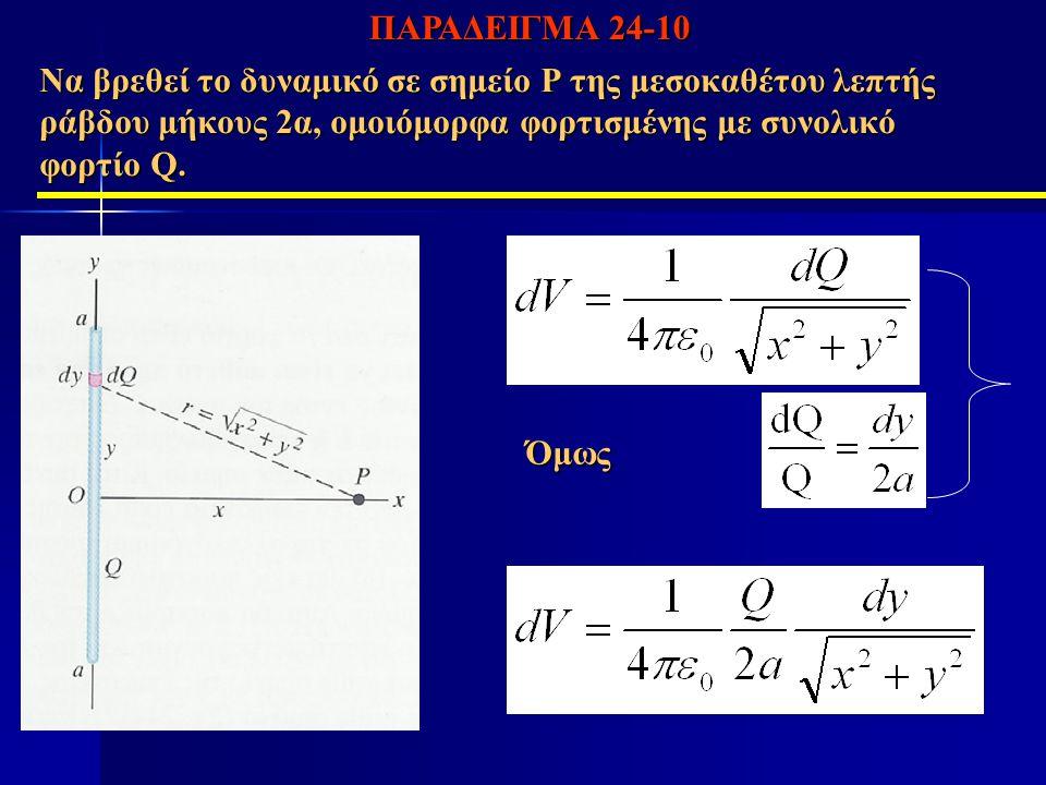 ΠΑΡΑΔΕΙΓΜΑ 24-10 Να βρεθεί το δυναμικό σε σημείο Ρ της μεσοκαθέτου λεπτής ράβδου μήκους 2α, ομοιόμορφα φορτισμένης με συνολικό φορτίο Q.