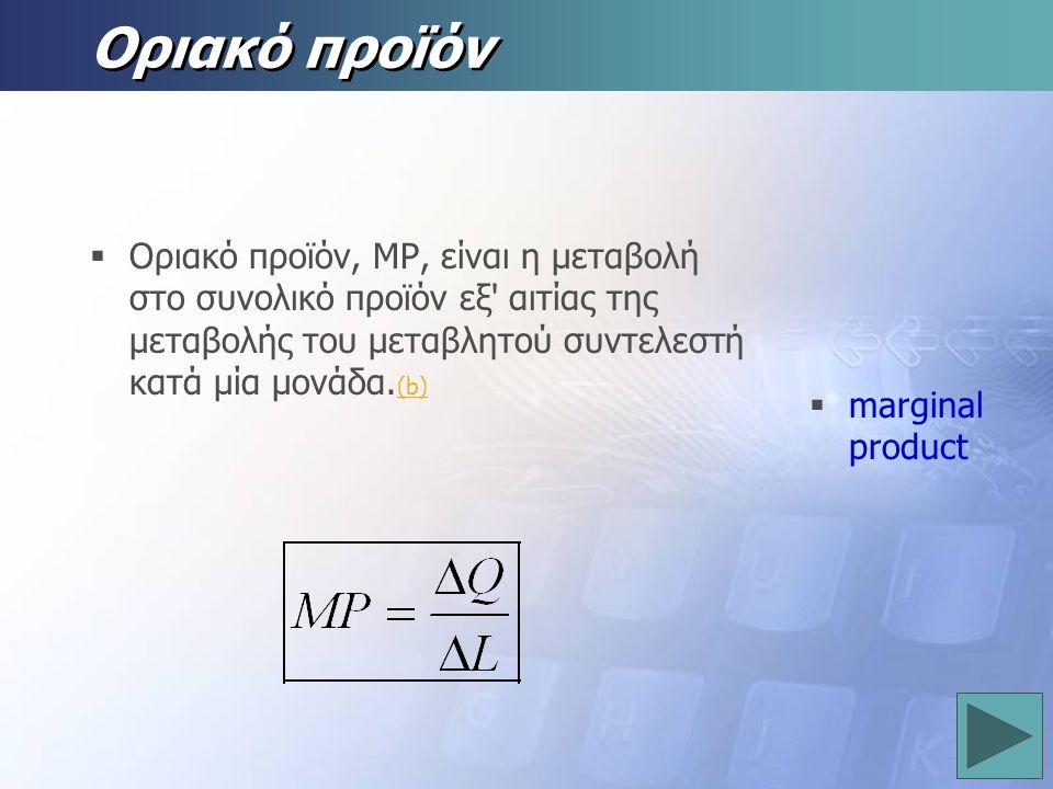 Οριακό προϊόν marginal product.