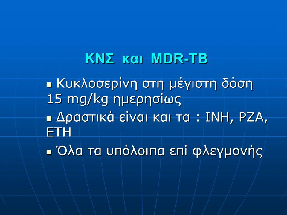 ΚΝΣ και MDR-TB Κυκλοσερίνη στη μέγιστη δόση 15 mg/kg ημερησίως