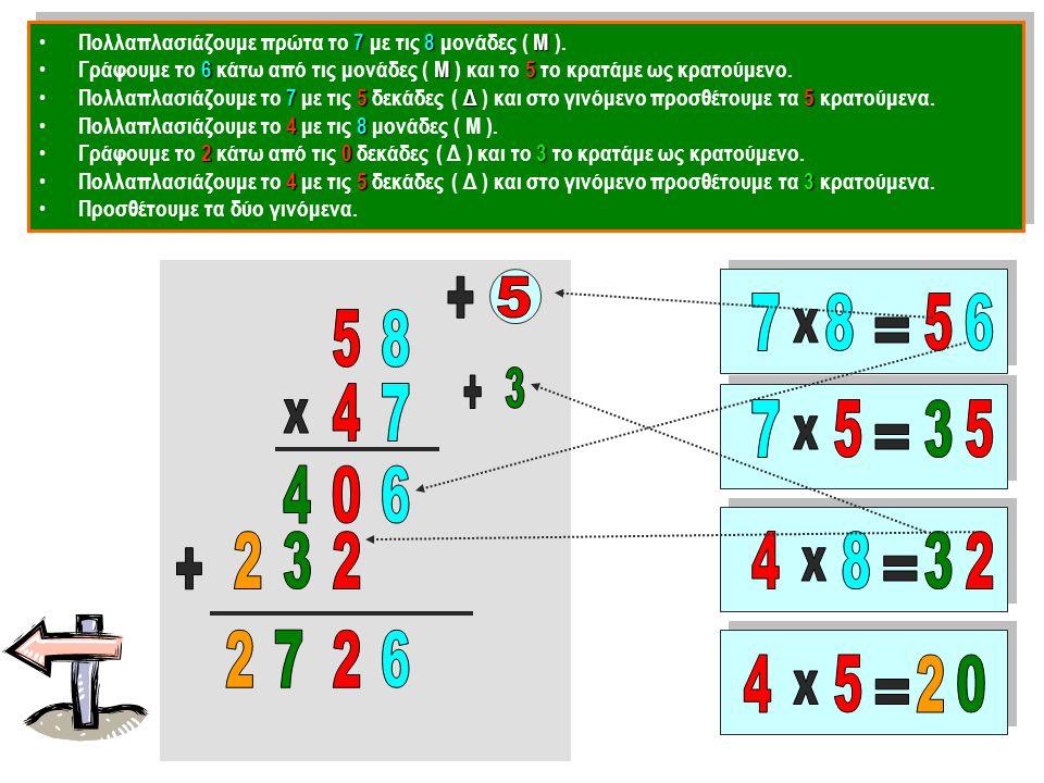 Πολλαπλασιάζουμε πρώτα το 7 με τις 8 μονάδες ( Μ ).
