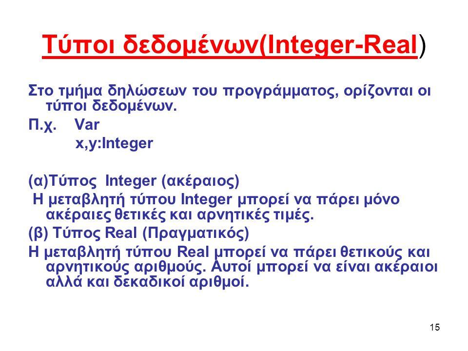 Τύποι δεδομένων(Integer-Real)