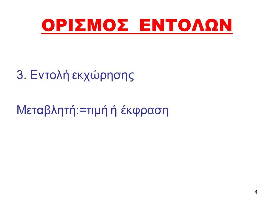 ΟΡΙΣΜΟΣ ΕΝΤΟΛΩΝ 3. Εντολή εκχώρησης Μεταβλητή:=τιμή ή έκφραση