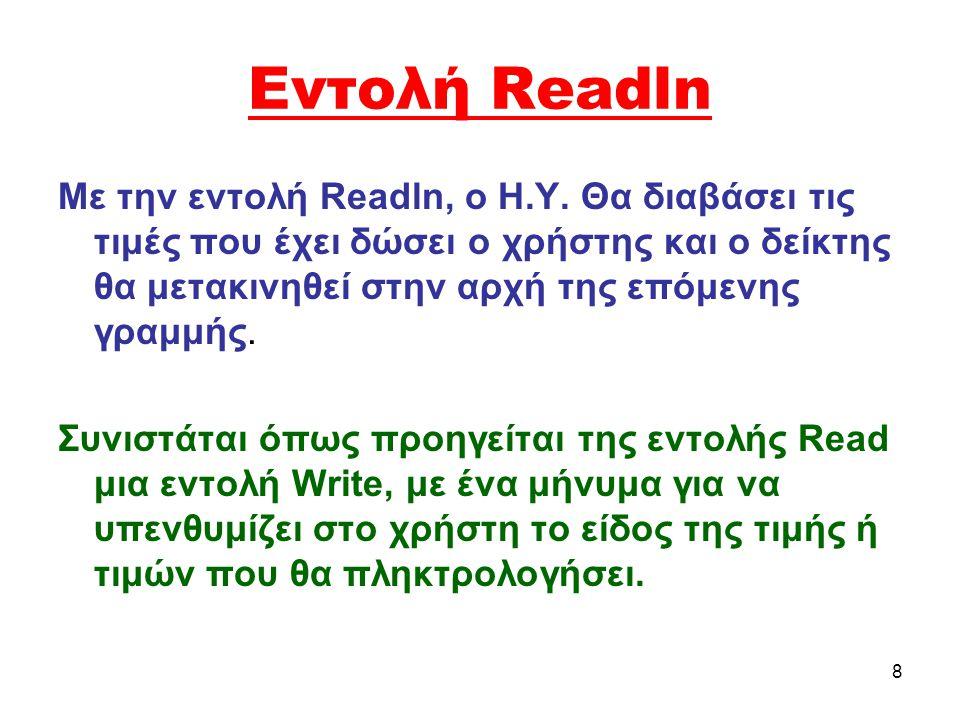 Εντολή Readln