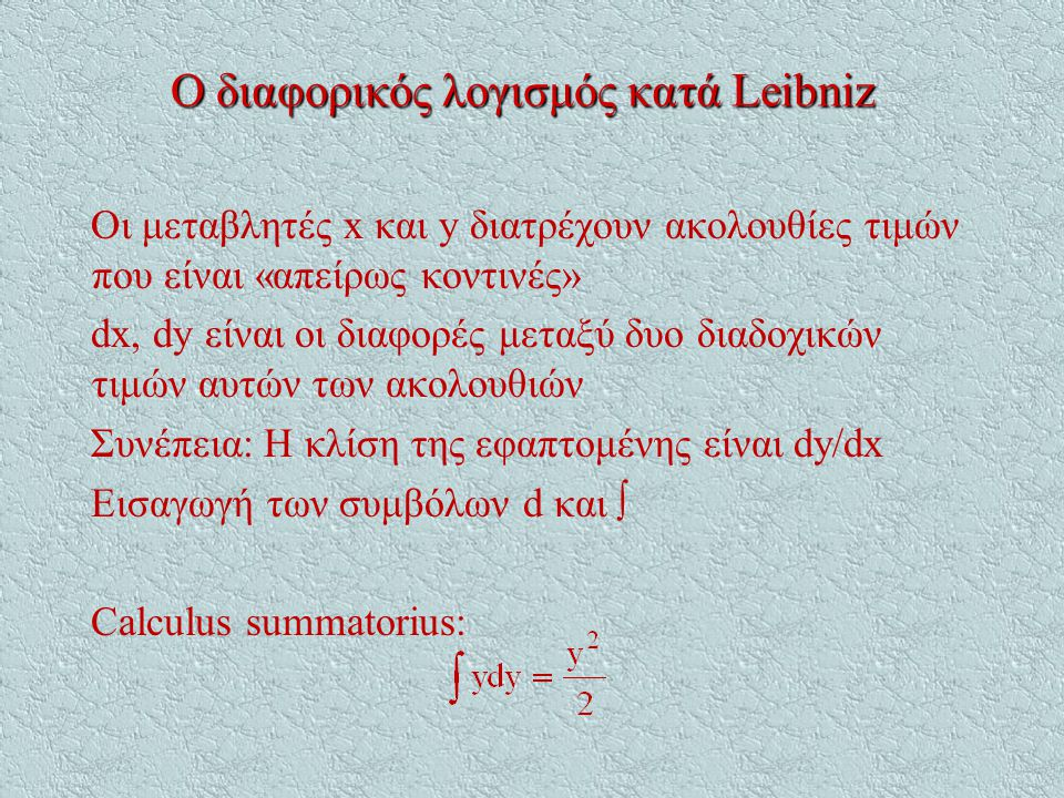 Ο διαφορικός λογισμός κατά Leibniz