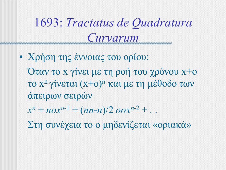 1693: Tractatus de Quadratura Curvarum