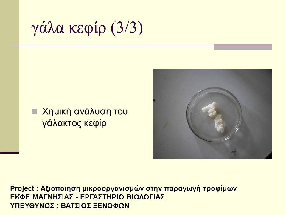 γάλα κεφίρ (3/3) Χημική ανάλυση του γάλακτος κεφίρ