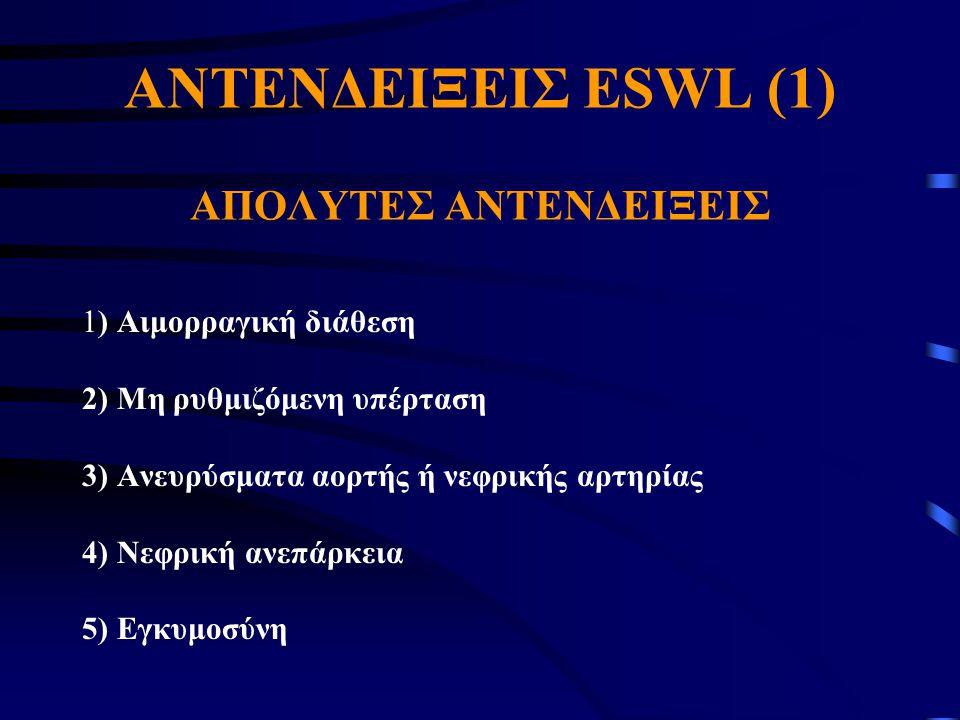 AΝΤΕΝΔΕΙΞΕΙΣ ESWL (1) AΠΟΛΥΤΕΣ ΑΝΤΕΝΔΕΙΞΕΙΣ