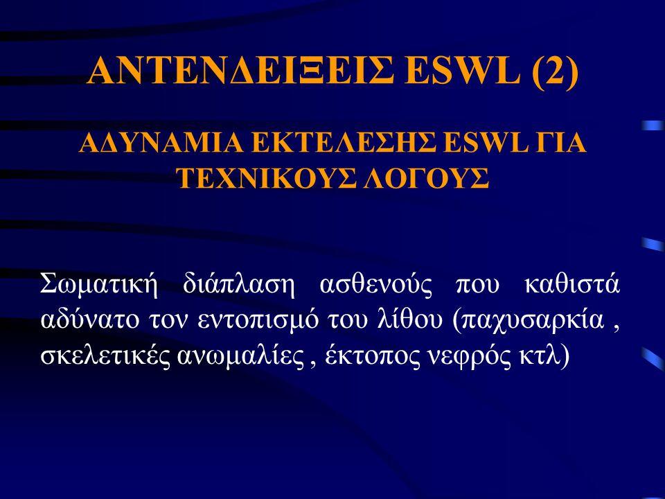 AΝΤΕΝΔΕΙΞΕΙΣ ESWL (2) ΑΔΥΝΑΜΙΑ ΕΚΤΕΛΕΣΗΣ ΕSWL ΓΙΑ ΤΕΧΝΙΚΟΥΣ ΛΟΓΟΥΣ