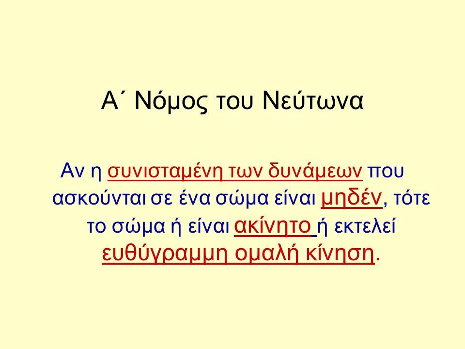 Α΄ Νόμος του Νεύτωνα