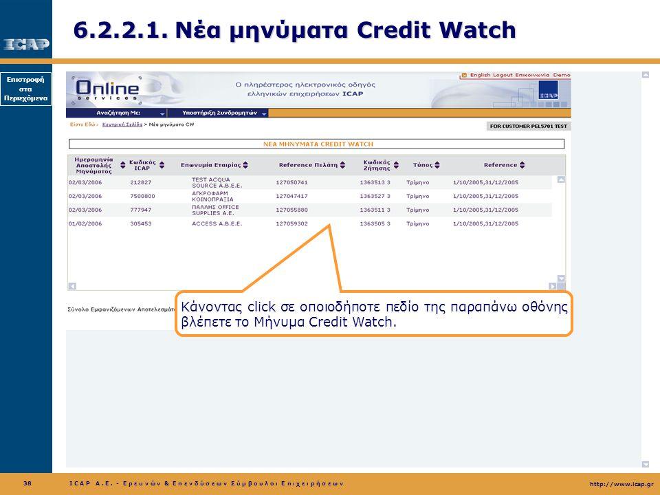 6.2.2.1. Νέα μηνύματα Credit Watch