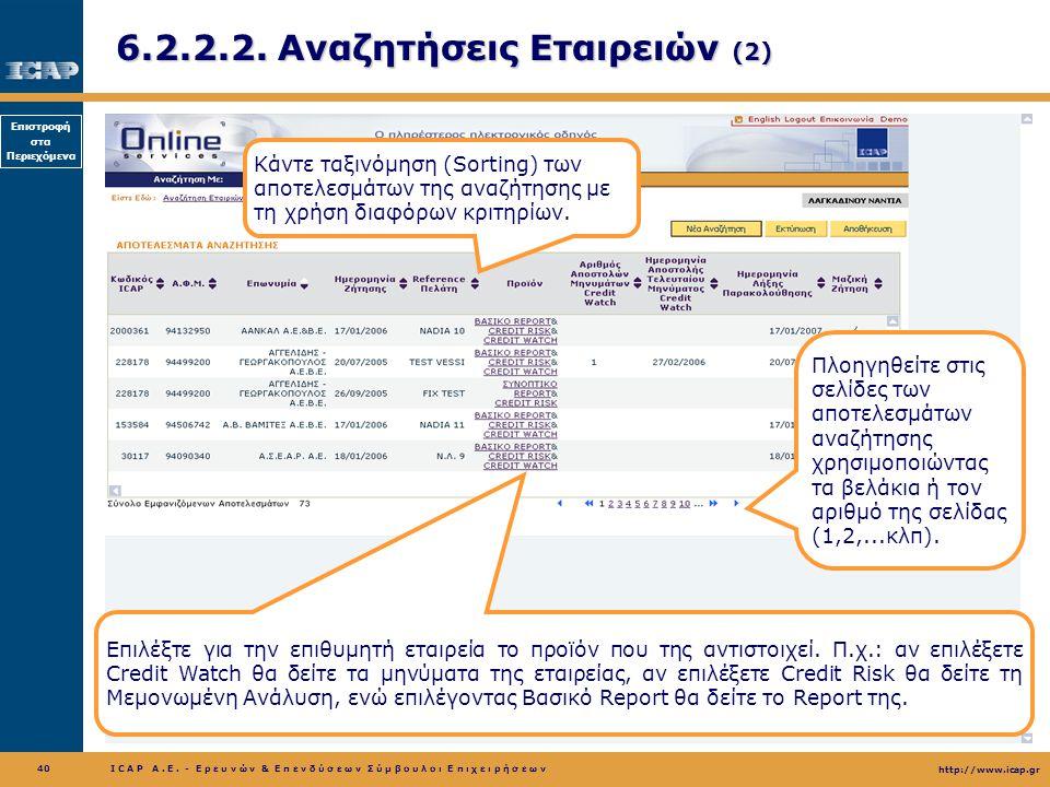 6.2.2.2. Αναζητήσεις Εταιρειών (2)