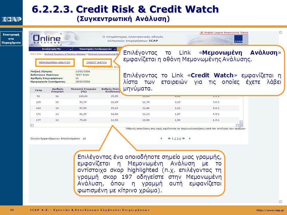 6.2.2.3. Credit Risk & Credit Watch (Συγκεντρωτική Ανάλυση)