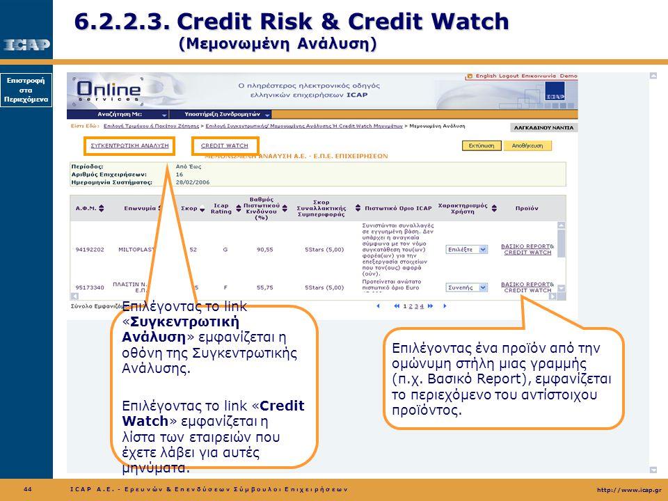 6.2.2.3. Credit Risk & Credit Watch (Μεμονωμένη Ανάλυση)