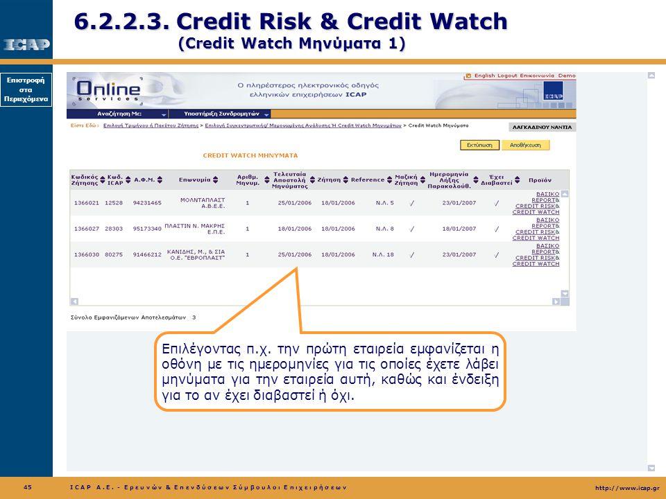 6.2.2.3. Credit Risk & Credit Watch (Credit Watch Μηνύματα 1)