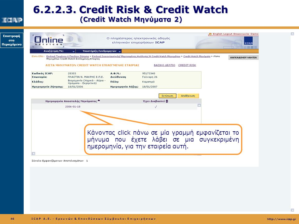 6.2.2.3. Credit Risk & Credit Watch (Credit Watch Μηνύματα 2)