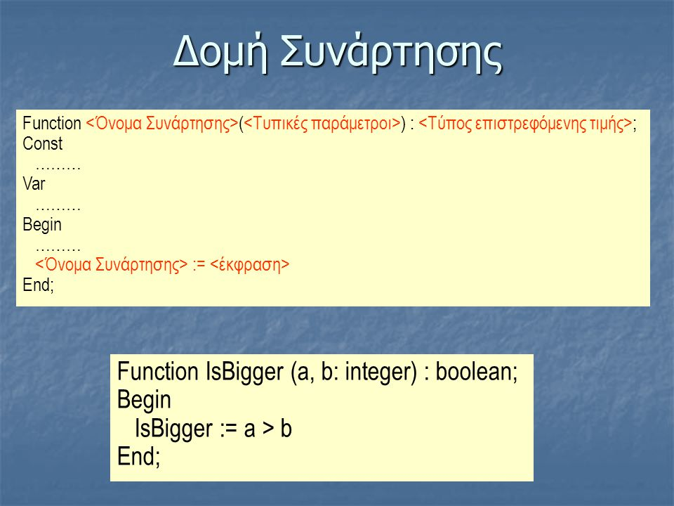 Δομή Συνάρτησης Function IsBigger (a, b: integer) : boolean; Begin