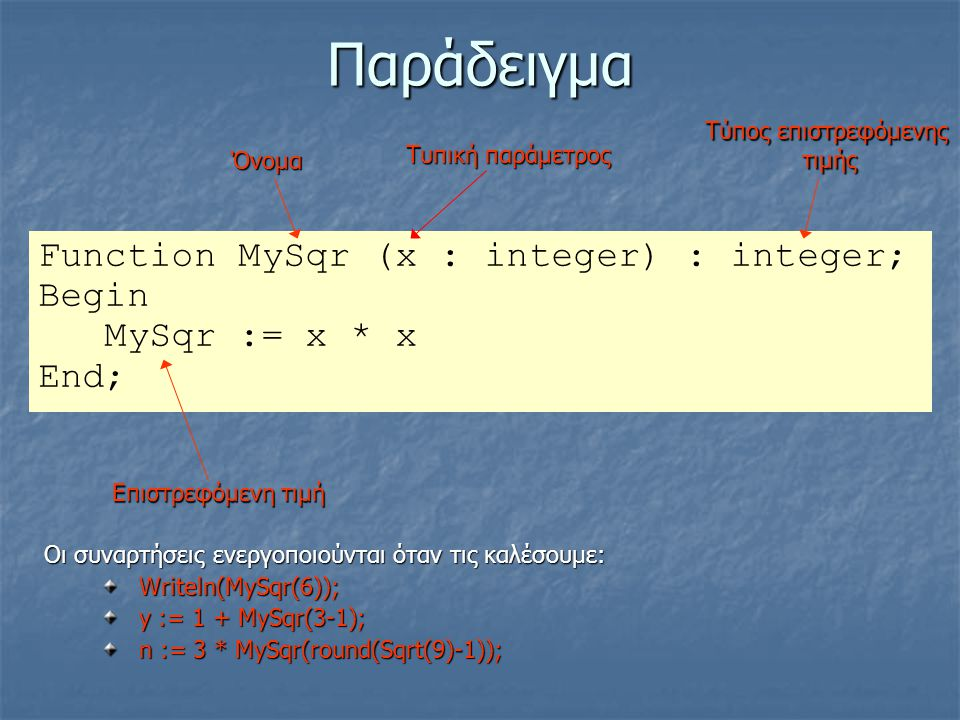 Παράδειγμα Function MySqr (x : integer) : integer; Begin