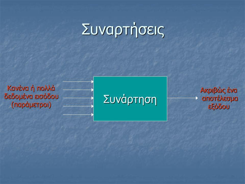 Συναρτήσεις Συνάρτηση Κανένα ή πολλά Ακριβώς ένα δεδομένα εισόδου
