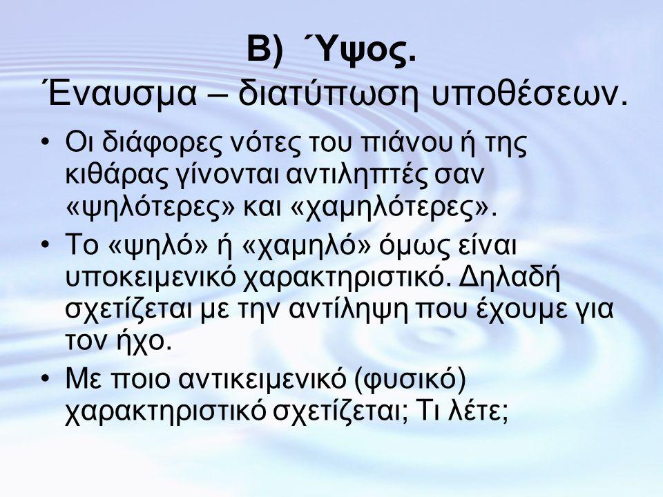 Β) Ύψος. Έναυσμα – διατύπωση υποθέσεων.