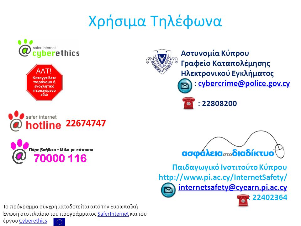 Χρήσιμα Τηλέφωνα 22674747 Αστυνομία Κύπρου Γραφείο Καταπολέμησης