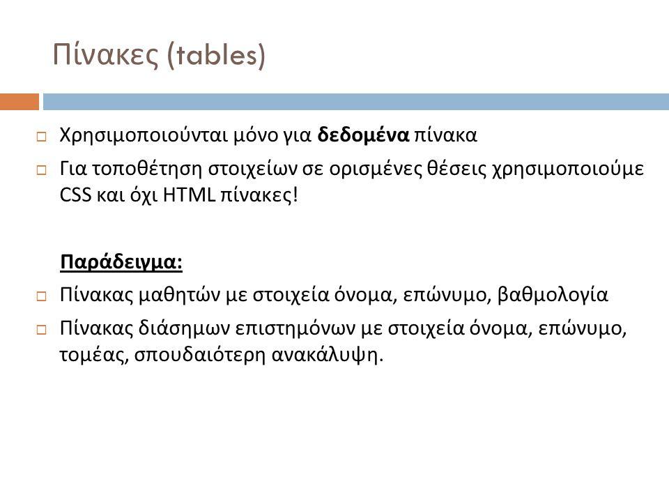 Πίνακες (tables) Χρησιμοποιούνται μόνο για δεδομένα πίνακα