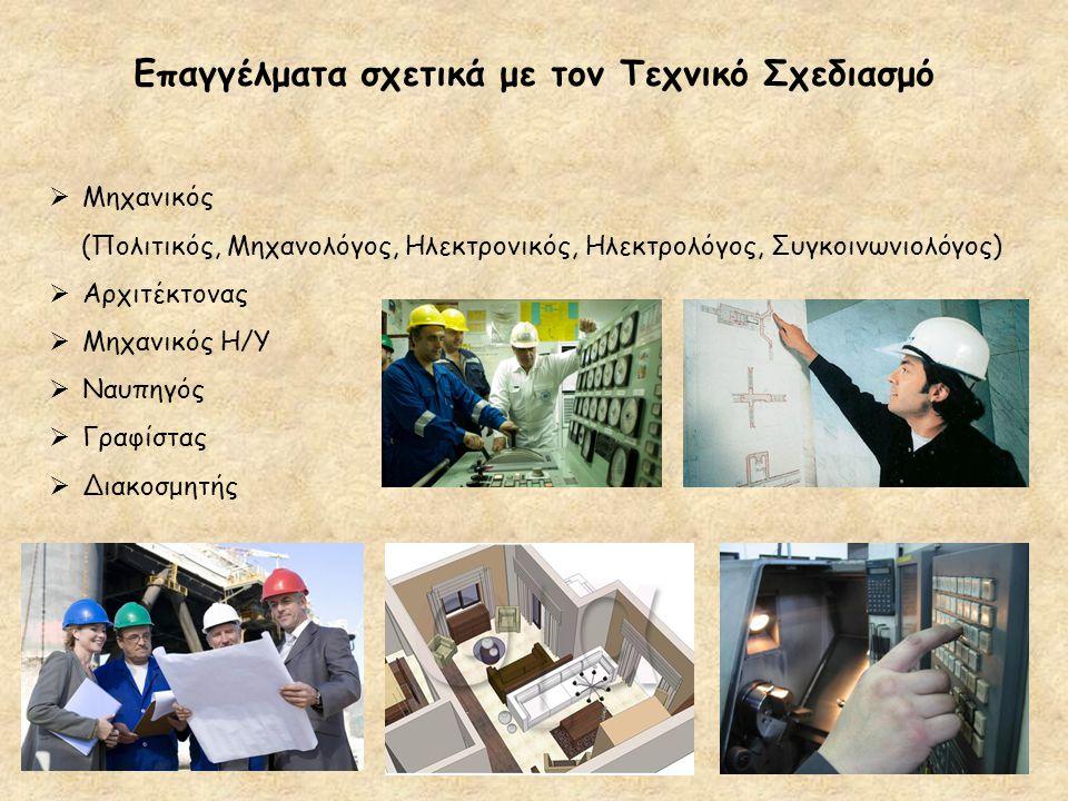 Επαγγέλματα σχετικά με τον Τεχνικό Σχεδιασμό