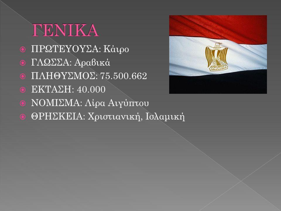 ΓΕΝΙΚΑ ΠΡΩΤΕΥΟΥΣΑ: Κάιρο ΓΛΩΣΣΑ: Αραβικά ΠΛΗΘΥΣΜΟΣ: 75.500.662