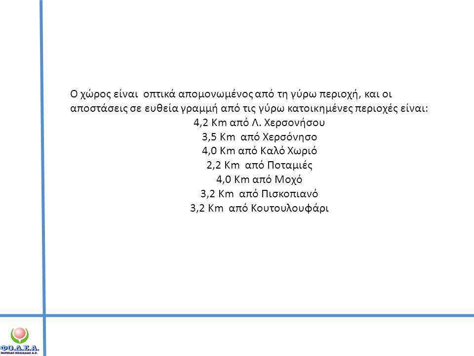 Ο χώρος είναι οπτικά απομονωμένος από τη γύρω περιοχή, και οι αποστάσεις σε ευθεία γραμμή από τις γύρω κατοικημένες περιοχές είναι: