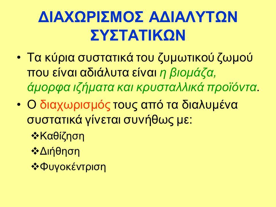 ΔΙΑΧΩΡΙΣΜΟΣ ΑΔΙΑΛΥΤΩΝ ΣΥΣΤΑΤΙΚΩΝ