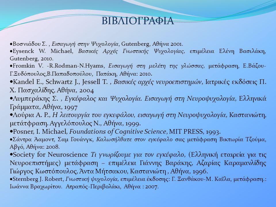 ΒΙΒΛΙΟΓΡΑΦΙΑ Βοσνιάδου Σ. , Εισαγωγή στην Ψυχολογία, Gutenberg, Αθήνα 2001.