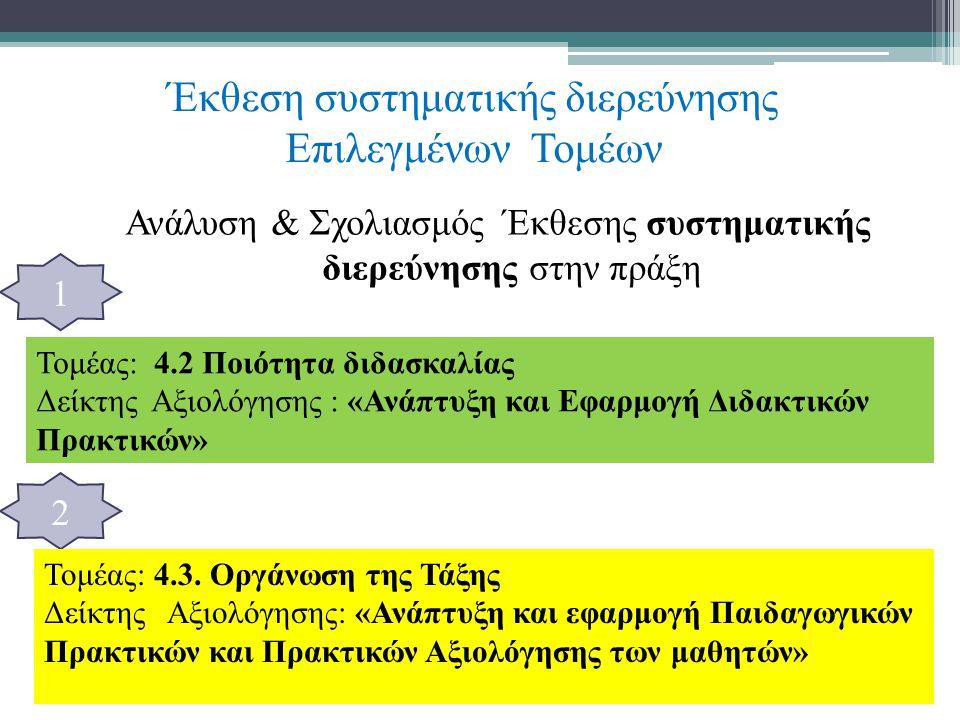 Έκθεση συστηματικής διερεύνησης Επιλεγμένων Τομέων