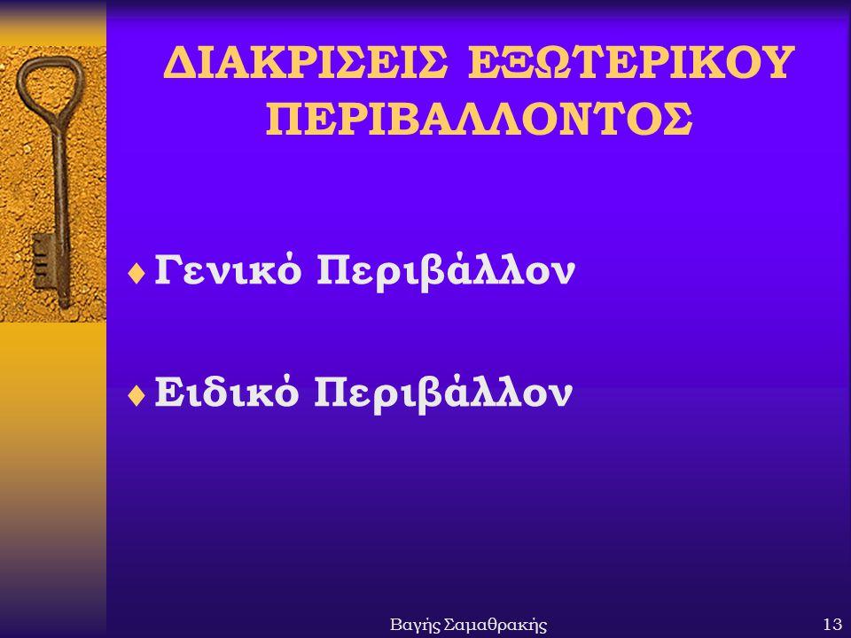 ΔΙΑΚΡΙΣΕΙΣ ΕΞΩΤΕΡΙΚΟΥ ΠΕΡΙΒΑΛΛΟΝΤΟΣ