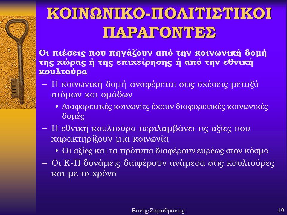 ΚΟΙΝΩΝΙΚΟ-ΠΟΛΙΤΙΣΤΙΚΟΙ ΠΑΡΑΓΟΝΤΕΣ