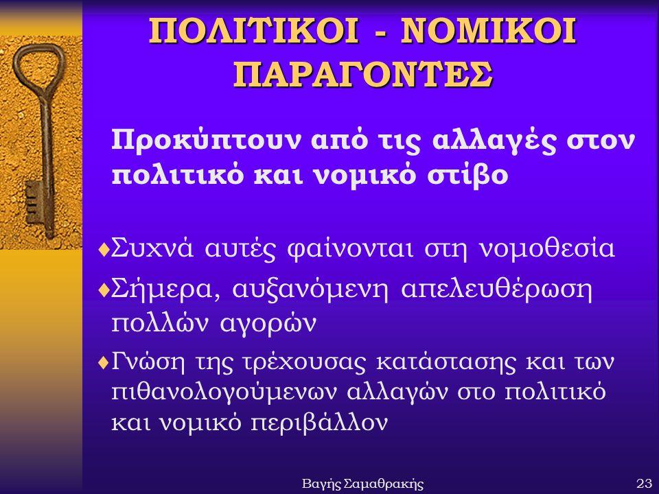 ΠΟΛΙΤΙΚΟΙ - ΝΟΜΙΚΟΙ ΠΑΡΑΓΟΝΤΕΣ