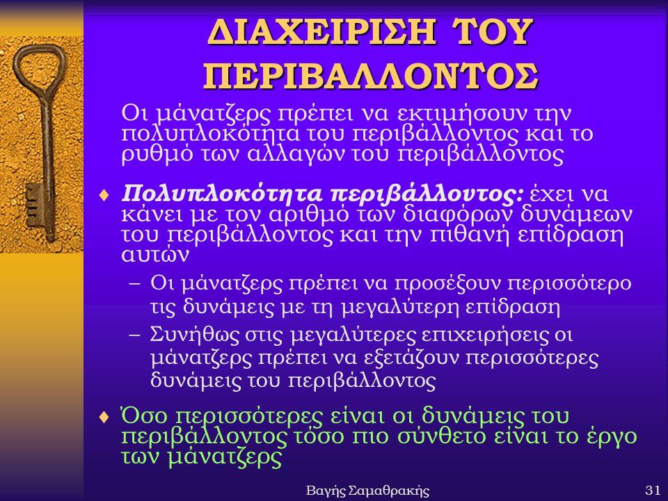 ΔΙΑΧΕΙΡΙΣΗ ΤΟΥ ΠΕΡΙΒΑΛΛΟΝΤΟΣ