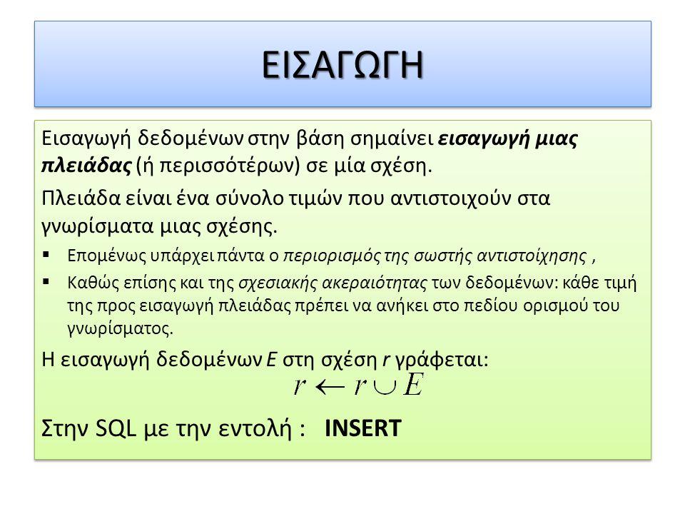 ΕΙΣΑΓΩΓΗ Στην SQL με την εντολή : INSERT