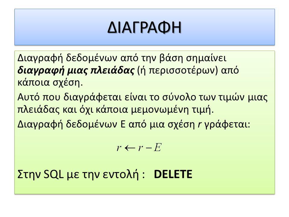 ΔΙΑΓΡΑΦΗ Στην SQL με την εντολή : DELETE