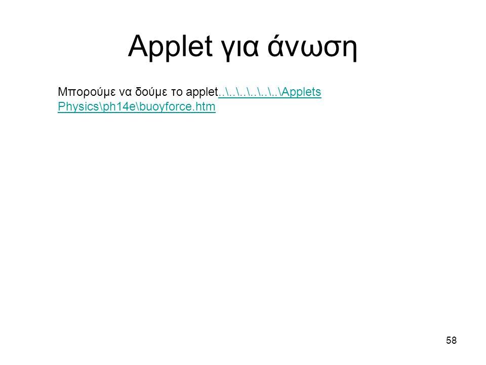 Applet για άνωση Μπορούμε να δούμε το applet..\..\..\..\..\..\Applets Physics\ph14e\buoyforce.htm